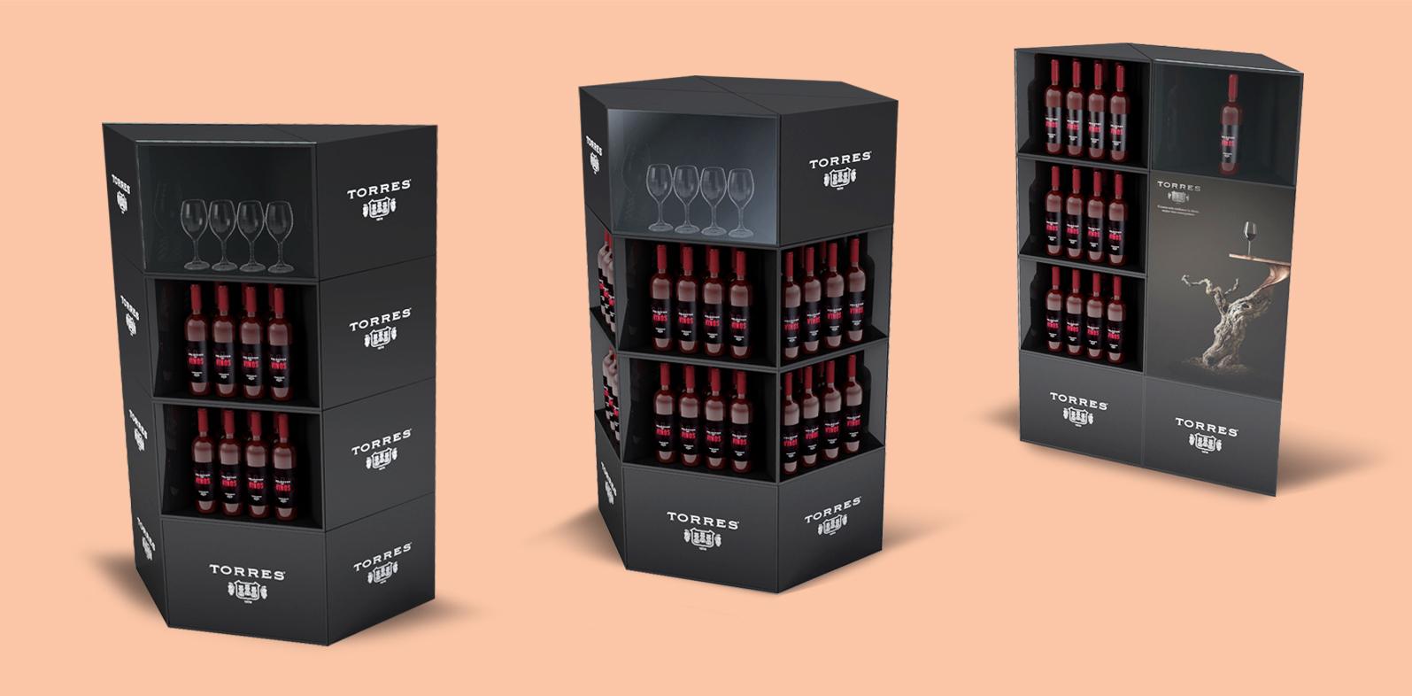 Muestra de PLV en cartón para marca de vinos